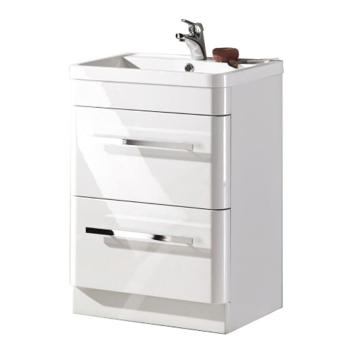Crystal 600mm White Gloss Floor Standing Vanity Unit & Basin